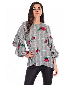 AX Paris Women's Floral Print Ruffle Sleeve Top