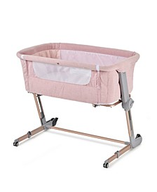 Pink Hugme Plus Bedside Sleeper Bassinet Includes Mattress and Travel Bag