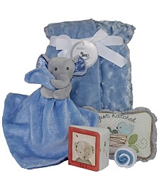 3 Stories Trading Snuggle Elephant Baby Blanket Gift Set, 6 Piece
