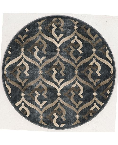 "KM Home CLOSEOUT! 3796/1025/Gray Imperia Gray 7'10"" x 7'10"" Round Area Rug"