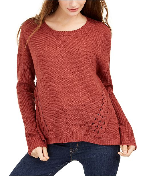 Pink Rose Juniors' Lace-Up Sweater