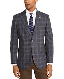 Men's Modern-Fit Active Stretch Gray/Blue Windowpane Sport Coat