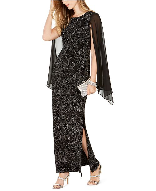 Connected Embellished Flocked Chiffon Gown, Created for Macy's