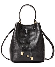 Lizard-Embossed Leather Micro Debby Bucket Bag