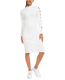 Crave Fame Juniors' Ribbed Bodycon Cut-Sleeve Sweater Dress