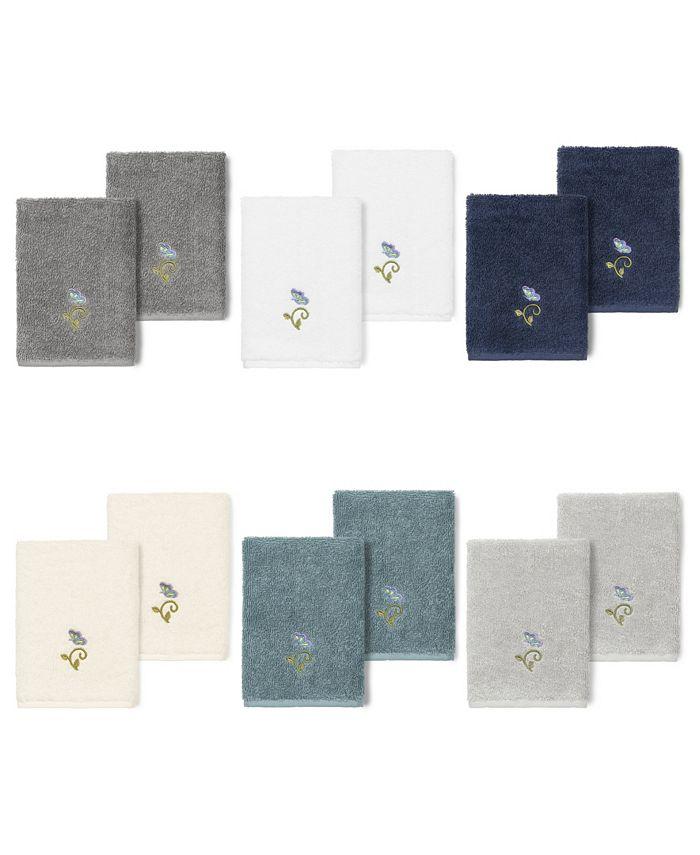 Linum Home - 100% Turkish Cotton Rebecca 2-Pc. Embellished Washcloth Set
