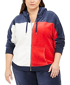 Plus Size Active Colorblocked Velour Zip-Up Hoodie