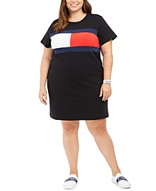 Plus Size Colorblocked Flag T-Shirt Dress