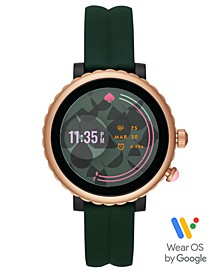 Women's Sport Scalloped Green Silicone Strap Touchscreen Smart Watch 41mm, Powered by Wear OS by Google™