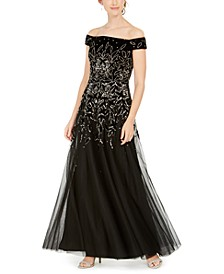 Embellished-Velvet Gown