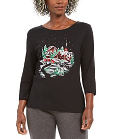 Holiday Scene Graphic Long-Sleeve T-Shirt, Created For Macy's