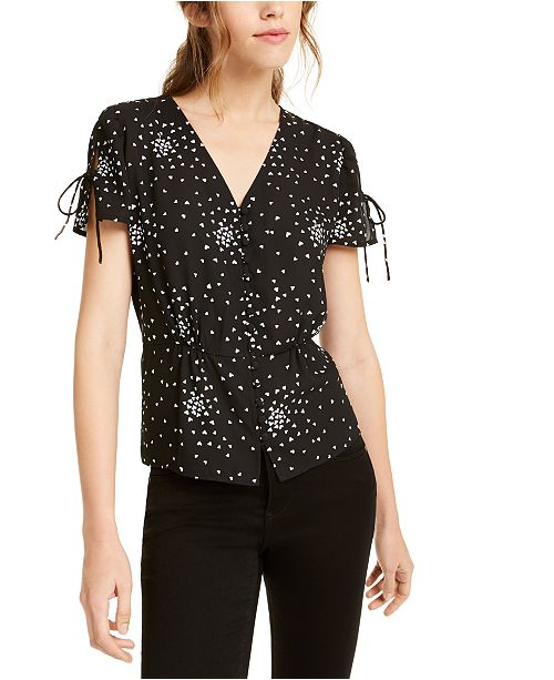 Maison Jules Heart-Print Button-Front Top, Created For Macy's