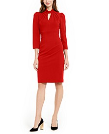 Petite Keyhole Mock-Neck Sheath Dress