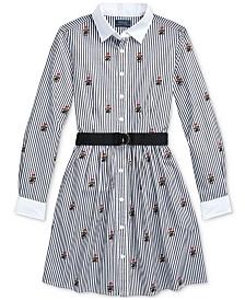 Polo Ralph Lauren Big Girls Polo Bear Cotton Shirtdress