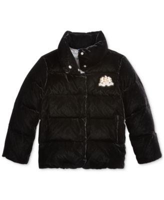 Big Girls Quilted Velvet Down Jacket