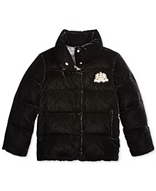 Big Girls Quilted Velvet Down Jacket
