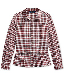 Big Girls Tartan Peplum-Hem Cotton Shirt, Created For Macy's
