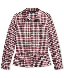 Big Girls Tartan Peplum-Hem Cotton Shirt, Created For Macy's