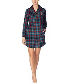 Shawl-Collar Printed Fleece Lounger Sleepshirt Nightgown