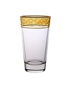 Set of 6 Amber Tumblers with Gold-tone Design