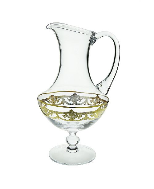 Classic Touch Water Pitcher with 14k Gold Artwork - Traditional Design