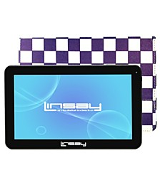 "10.1"" Quad Core 16 GB Android 6.0 Tablet Bundle with Purple Square Leather Case"