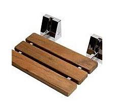 """Polished Chrome 16"""" Folding Teak Wood Shower Seat Bench"""