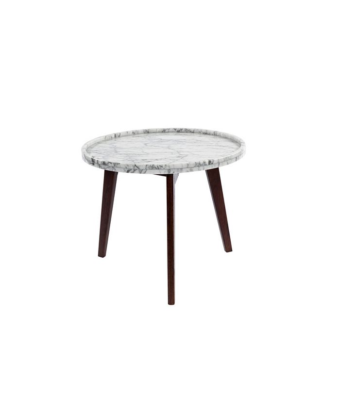"""Cenports - Cassara 15"""" Round White Marble Side Table with Walnut Legs"""