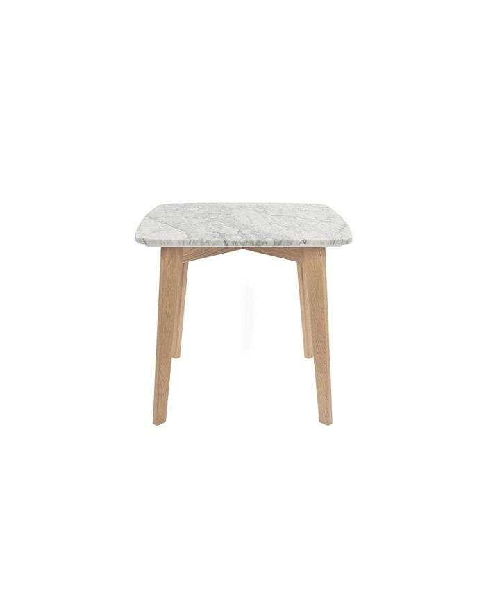 Cenports - Gavia 19.5 x 19.5 Square White Marble Side Table with Oak Legs