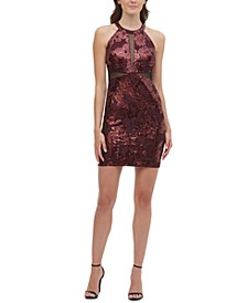 Sequin-Lace Illusion Bodycon Dress