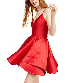 Juniors' Double-Layer Satin Fit & Flare Dress