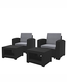 Distribution Adelaide 4 Piece All-Weather Chair and Ottoman Patio Set