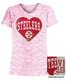 Big Girls Pittsburgh Steelers Heart Flip Sequin T-Shirt