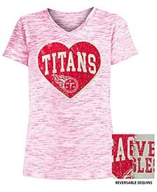 Big Girls Tennessee Titans Heart Flip Sequin T-Shirt