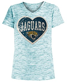 Big Girls Jacksonville Jaguars Heart Flip Sequin T-Shirt