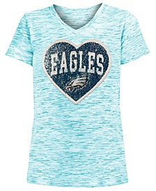 Big Girls Philadelphia Eagles Heart Flip Sequin T-Shirt