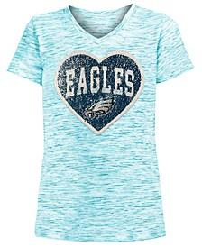 Big Girls Philadelphia Eagles Heart Flip Sequin T-Shirt