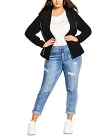 Trendy Plus Size Side Stripe Jacket