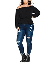 Trendy Plus Size Flocked Off-The-Shoulder Top