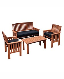 Miramar 4 Piece Hardwood Outdoor Chair and Coffee Table Set