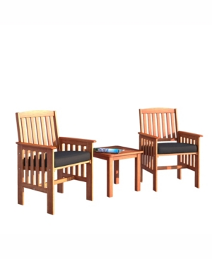 Corliving Distribution Miramar 3 Piece Hardwood Outdoor Chair and Side Table Set -  PEX-864-Z