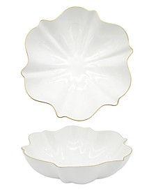 Amelie Brushed Gold Rim Serving Bowl