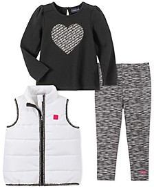 Toddler Girls 3-Pc. Vest, Heart Top & Leggings Set