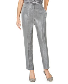 Petite Slim-Leg Metallic Pants