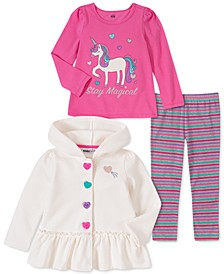 Toddler Girls 3-Pc. Hooded Jacket, Unicorn Top & Striped Leggings Set