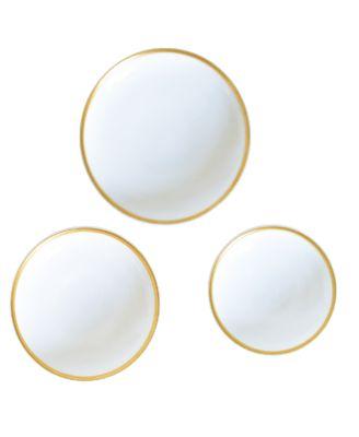 Golden Edge Canape Plates - Set of 3