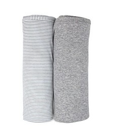 2 Pack Swaddle - Grey Marl + Grey Heathered Stripes