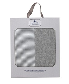 2 Pack Fitted Sheet - Grey Marl + Grey Heathered Stripes