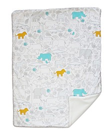 Safari Sherpa Lined Baby Blanket