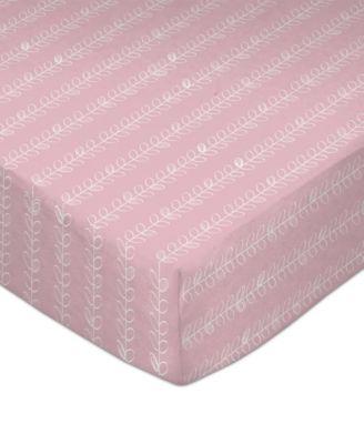 Pink Vine Print Crib Sheet
